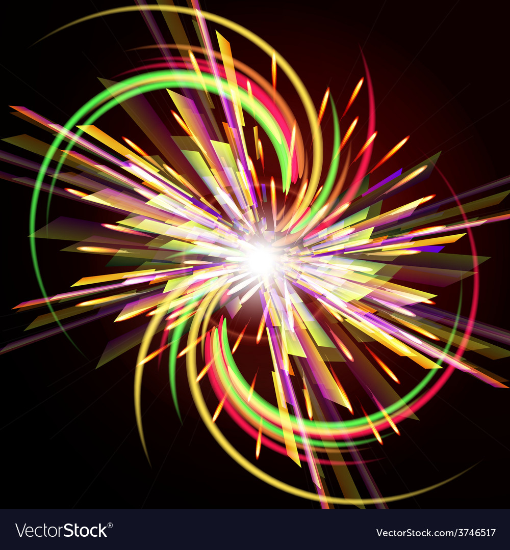Bright abstract festive fireworks over dark vector