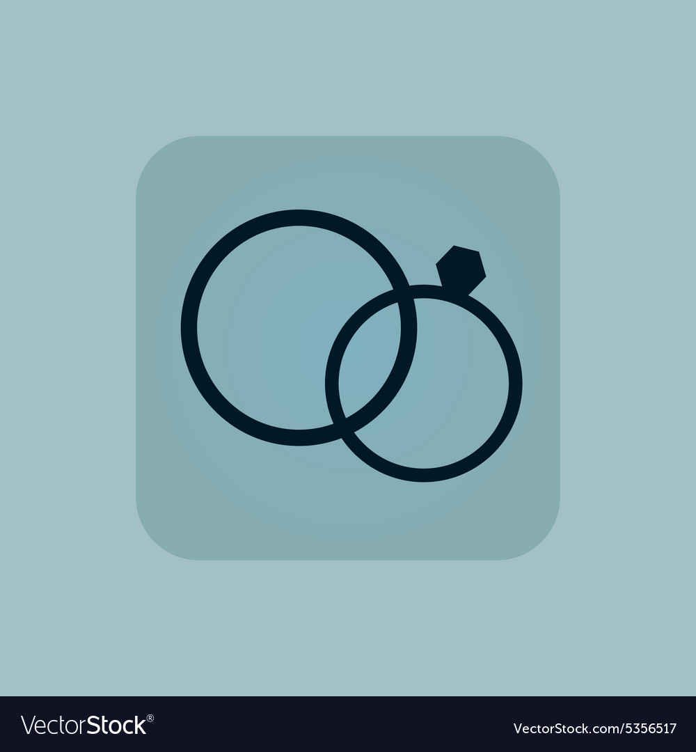 Pale blue wedding rings icon vector
