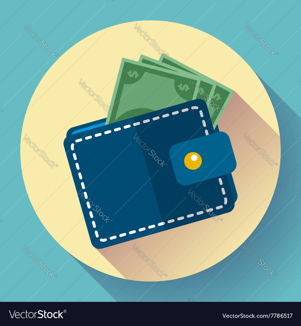 Wallet and money icon vector