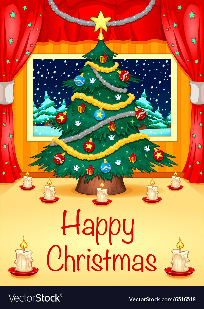 Hapy christmas card vector