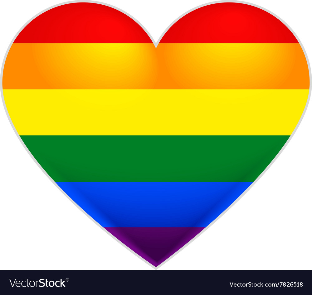 Rainbow flag gay lgbt flag heart vector
