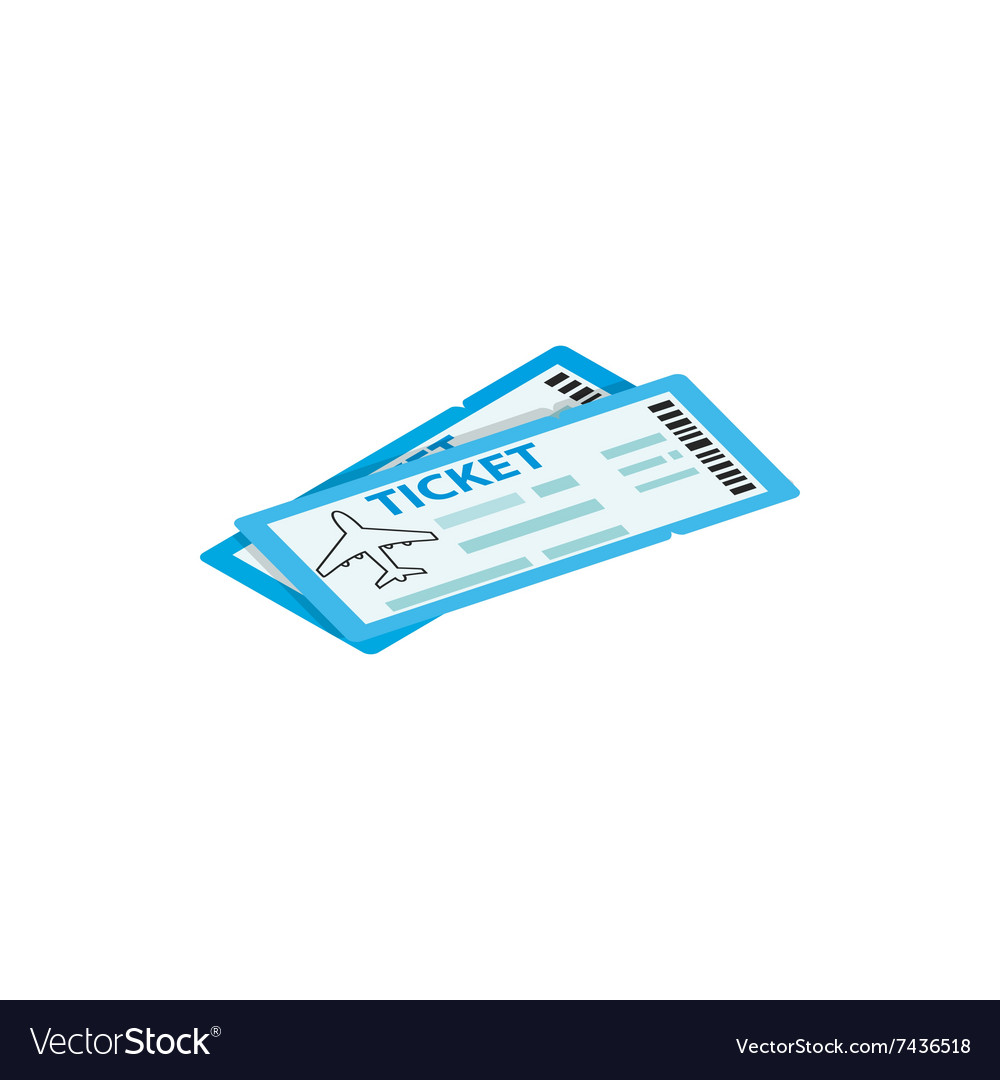 Two airline ticket 3d isometric icon vector