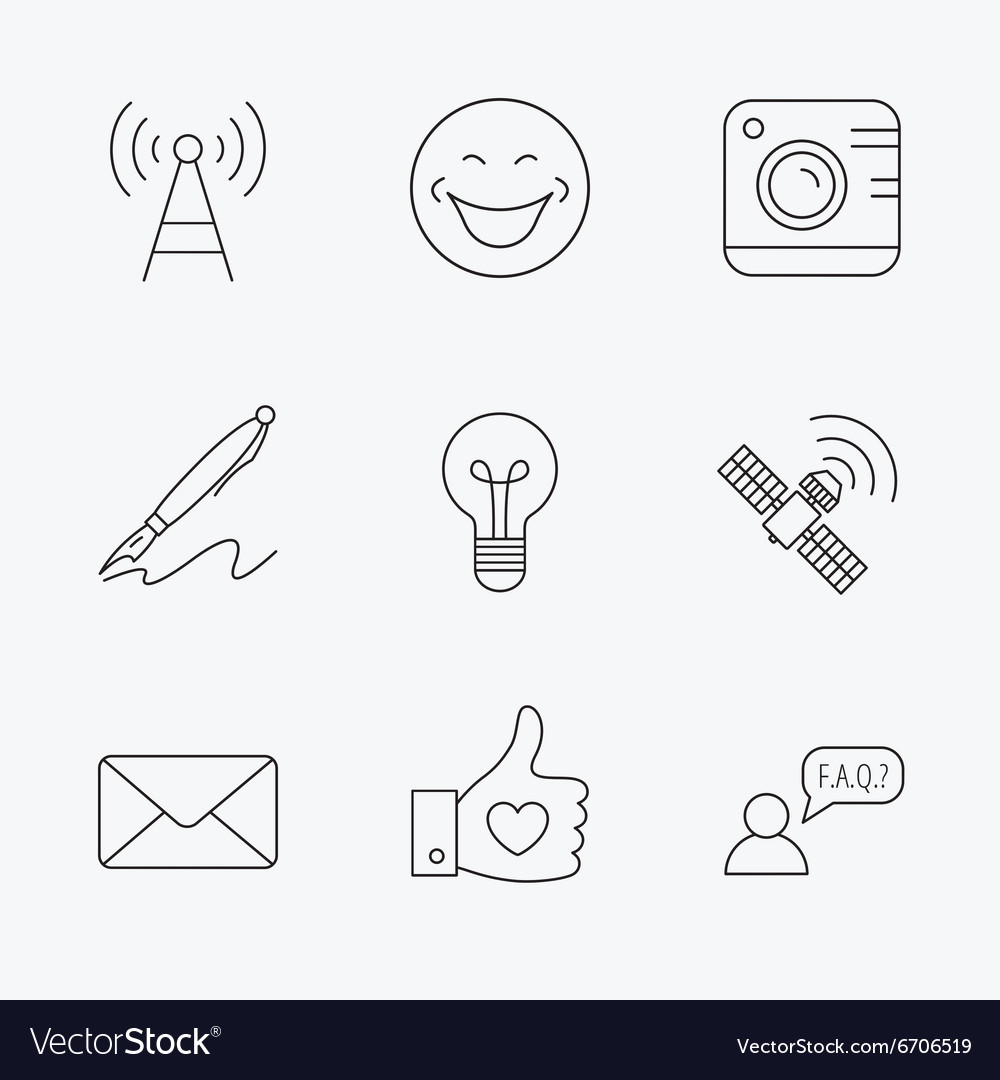 Mail photo camera and lightbulb icons vector