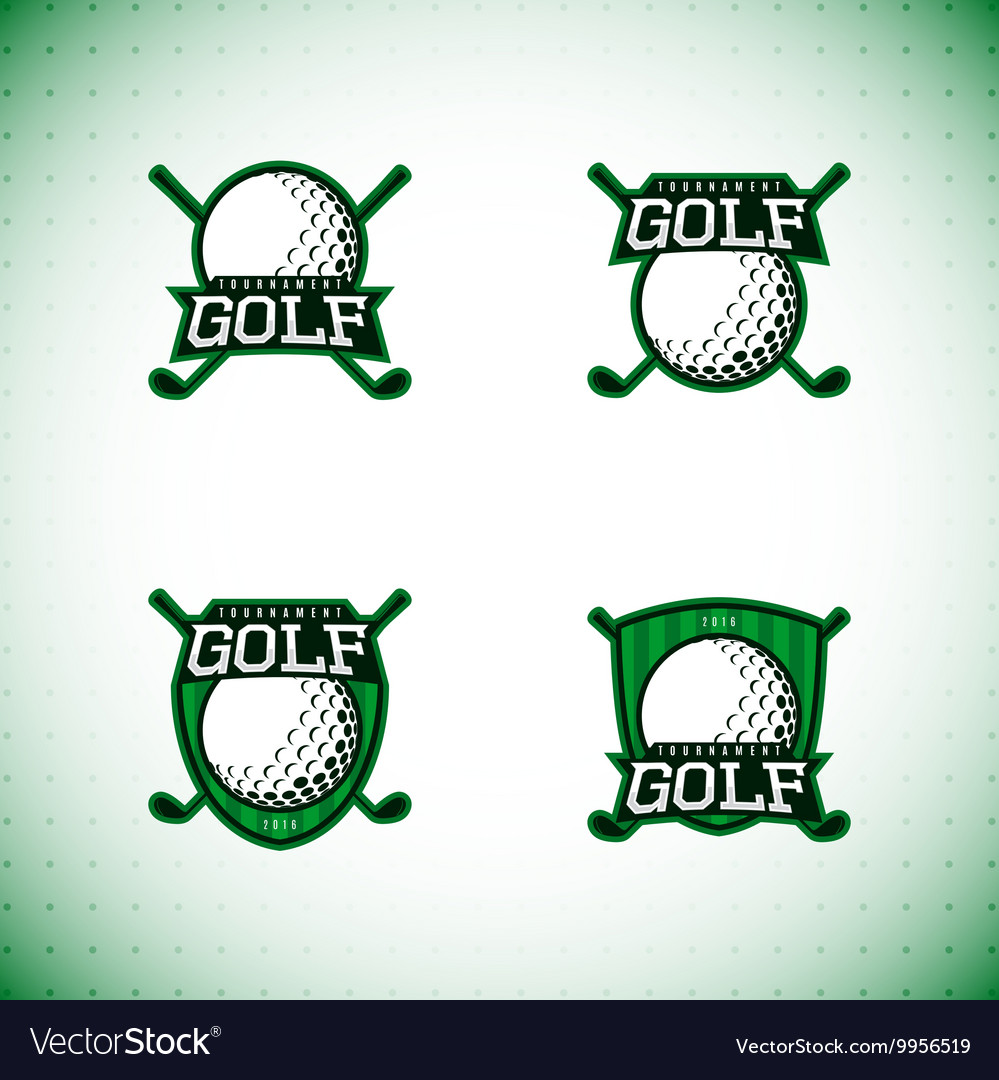 Set of labels of golf tournament vector