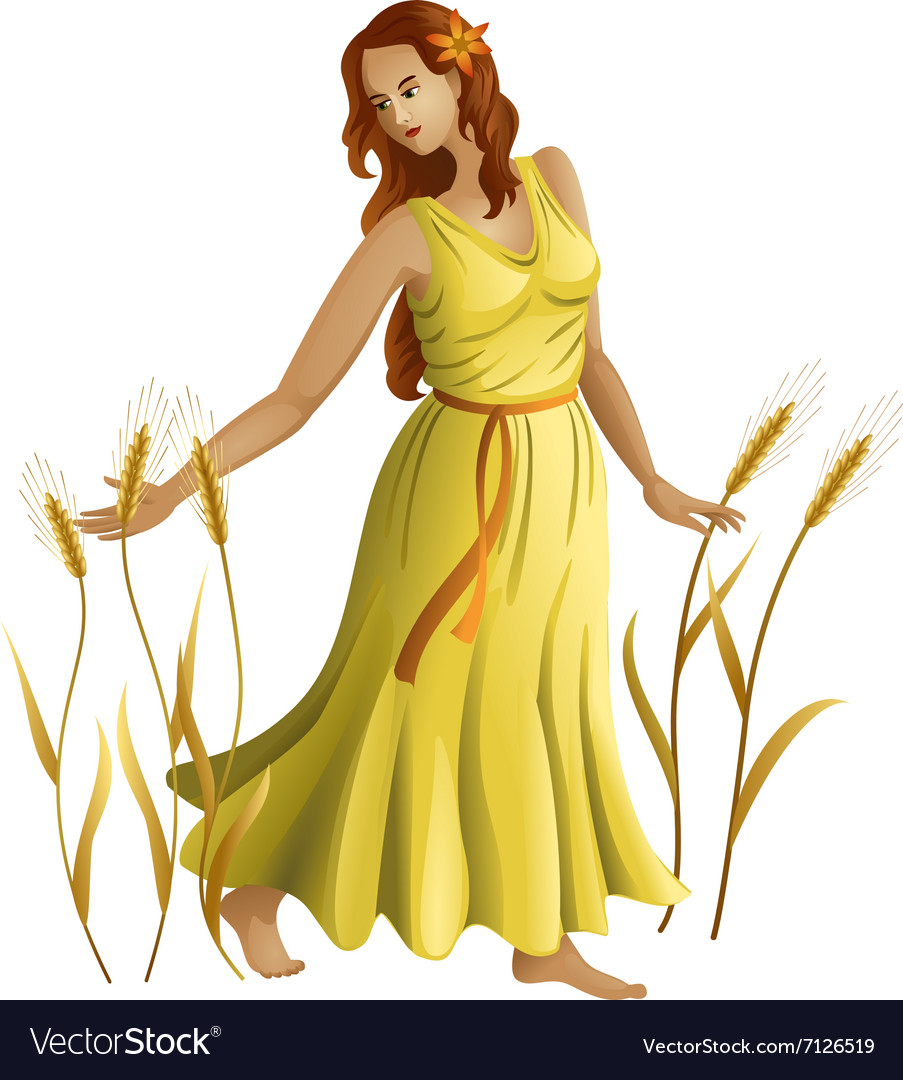 Young girl with ears of wheat vector