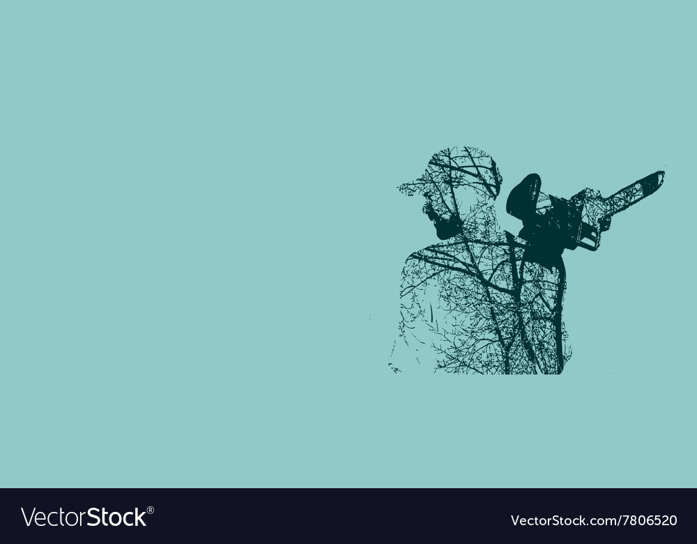 Double exposure of bearded man with chainsaw vector
