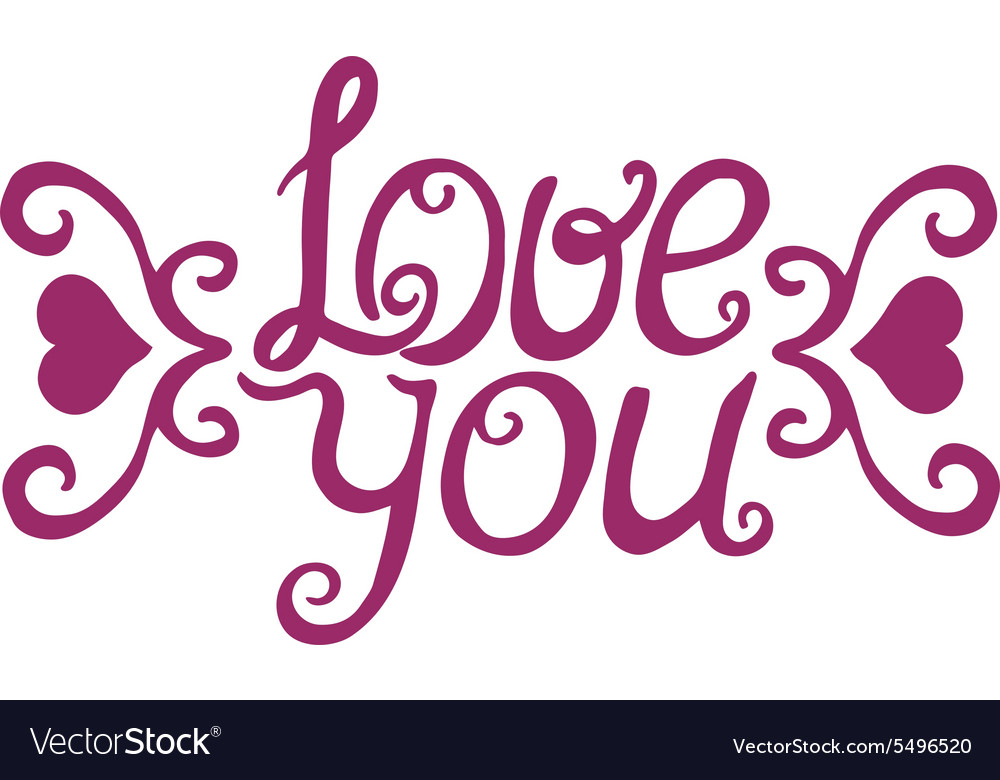 Love you lettering with floral ornament vector