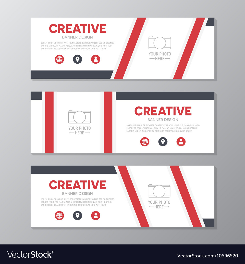 Red corporate business banner template horizontal vector