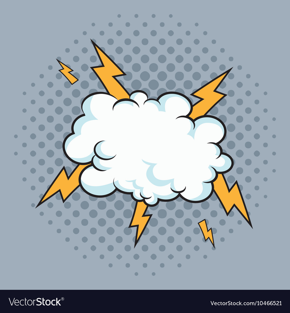 Cloud thunder pop art comic design vector