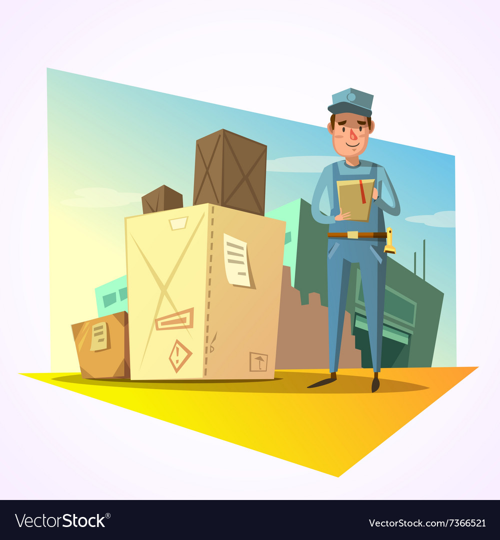 Warehouse retro cartoon vector