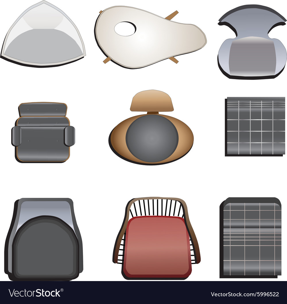 Chair top view set 2 vector