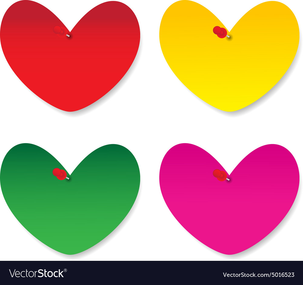 Blank heart paper note vector