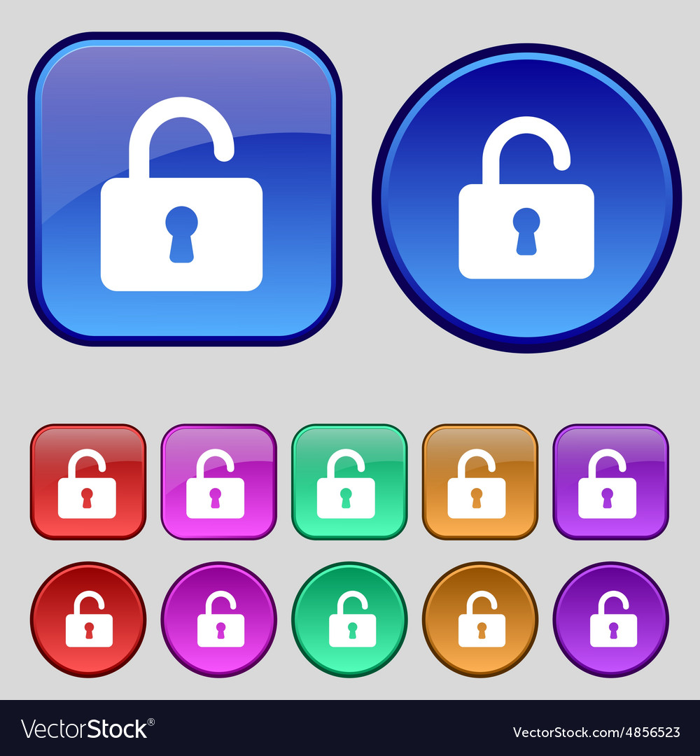 Open padlock icon sign a set of twelve vintage vector