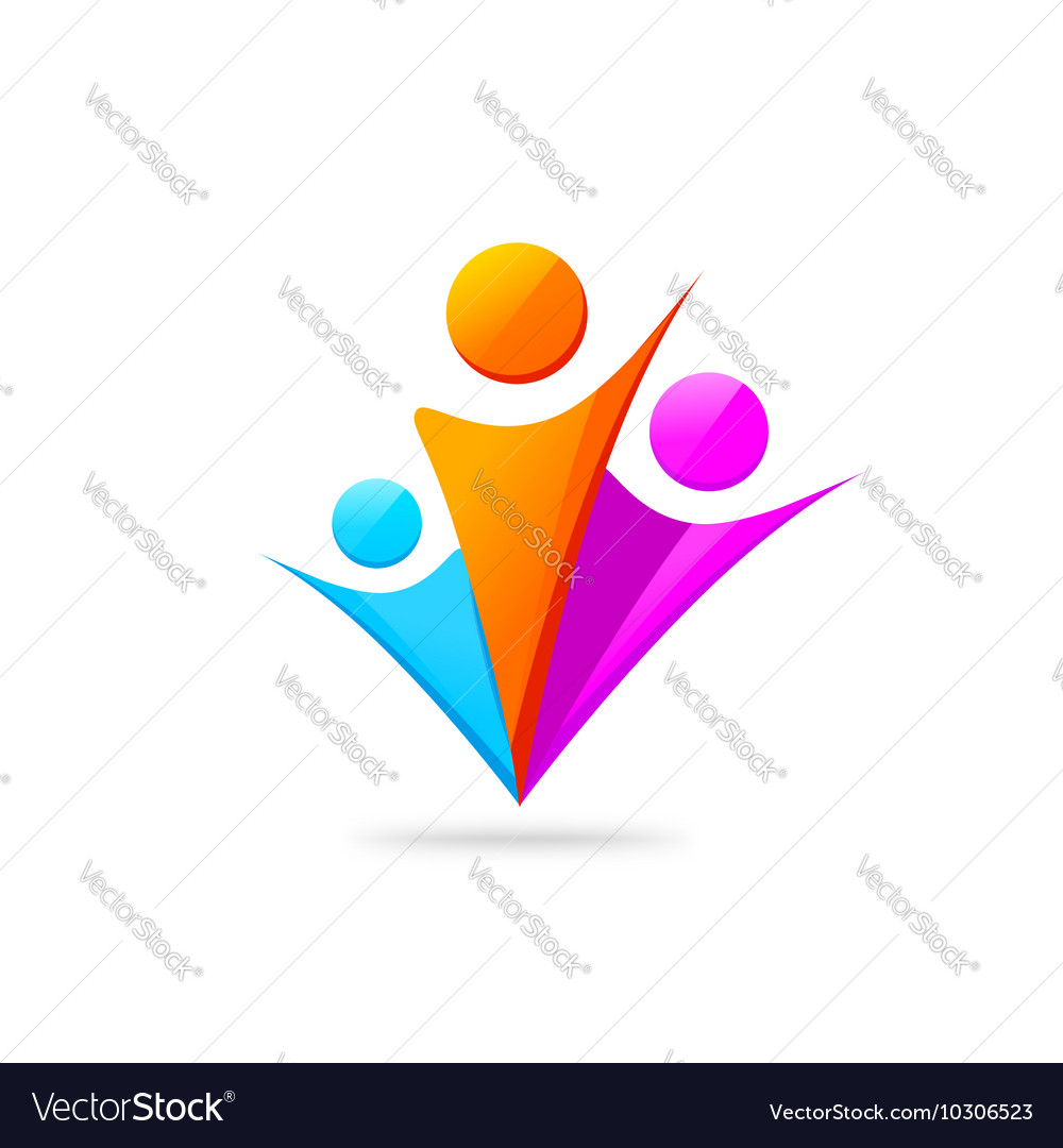 Three happy people with hands together logo vector