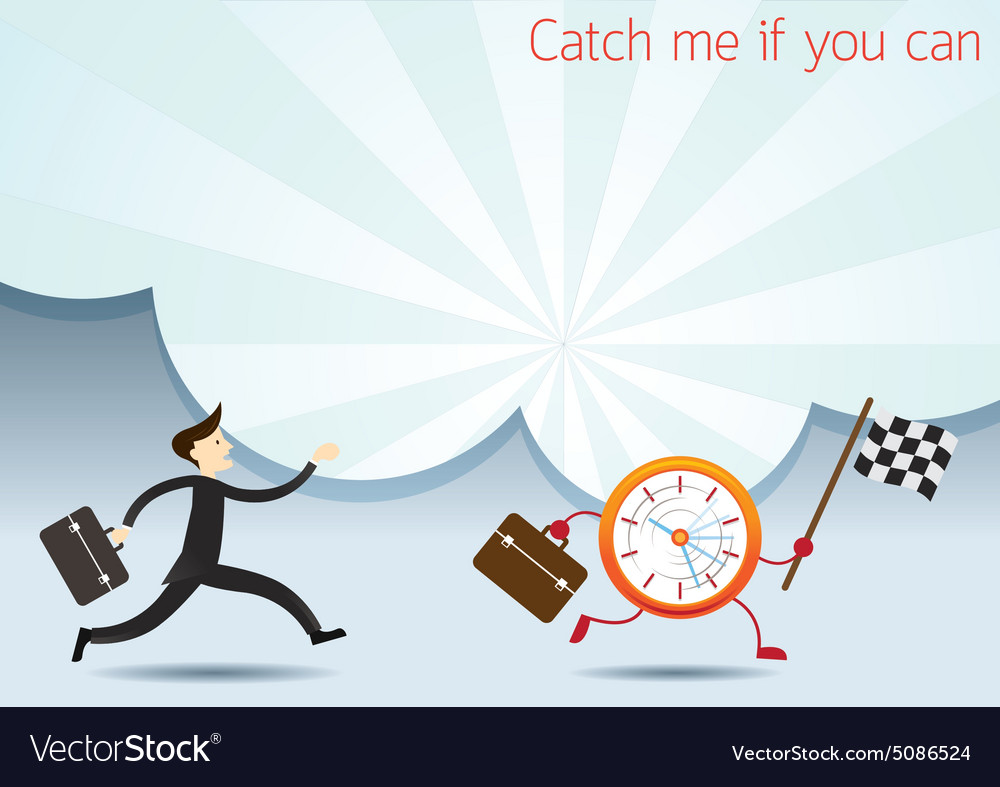 Businessman run to catch clock character vector