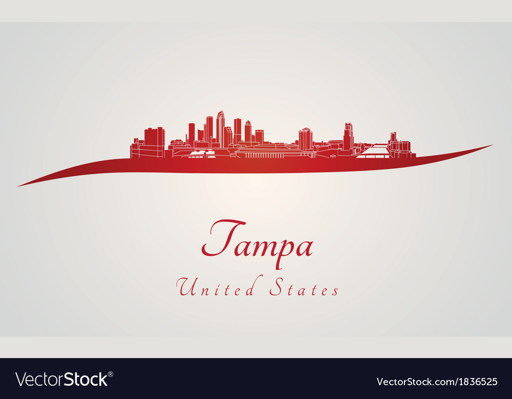 Tampa skyline in red vector