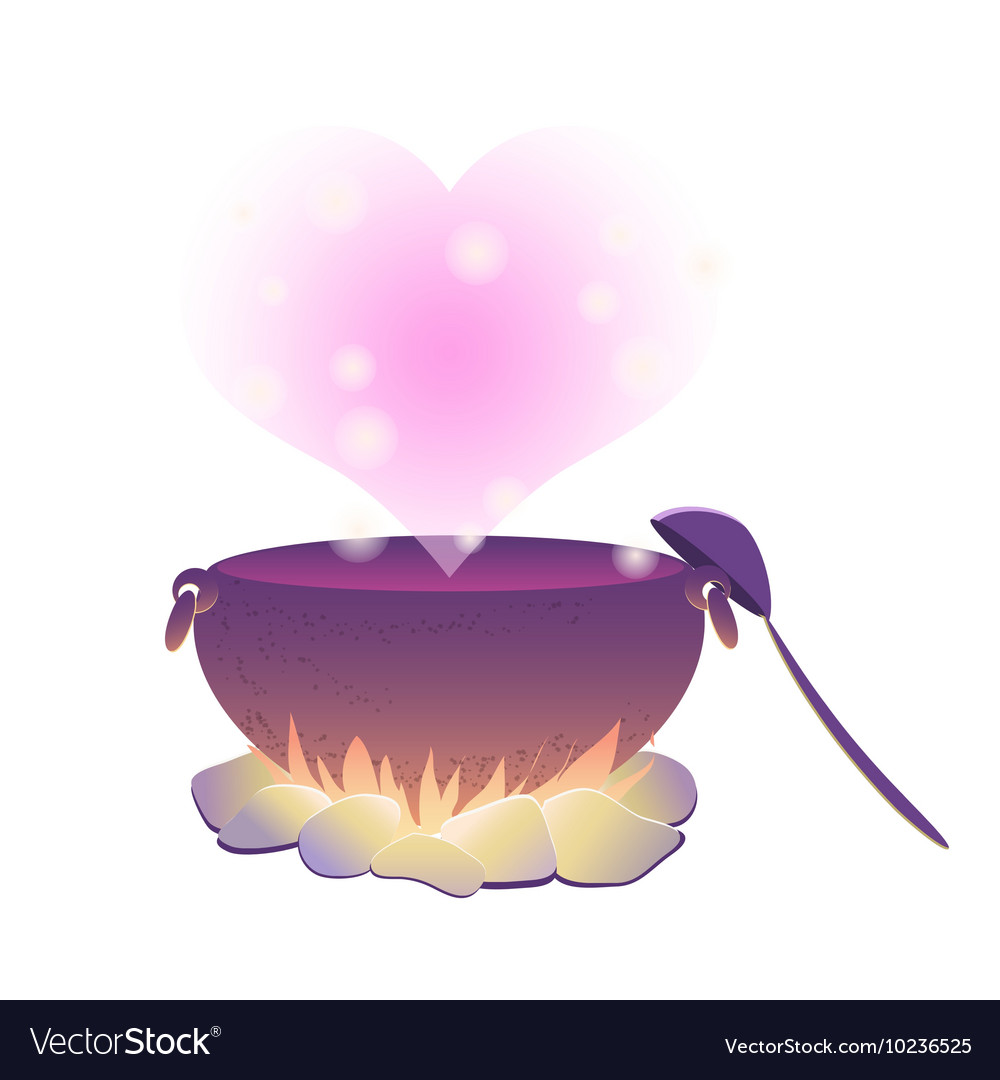 Witch cauldron with love potion vector