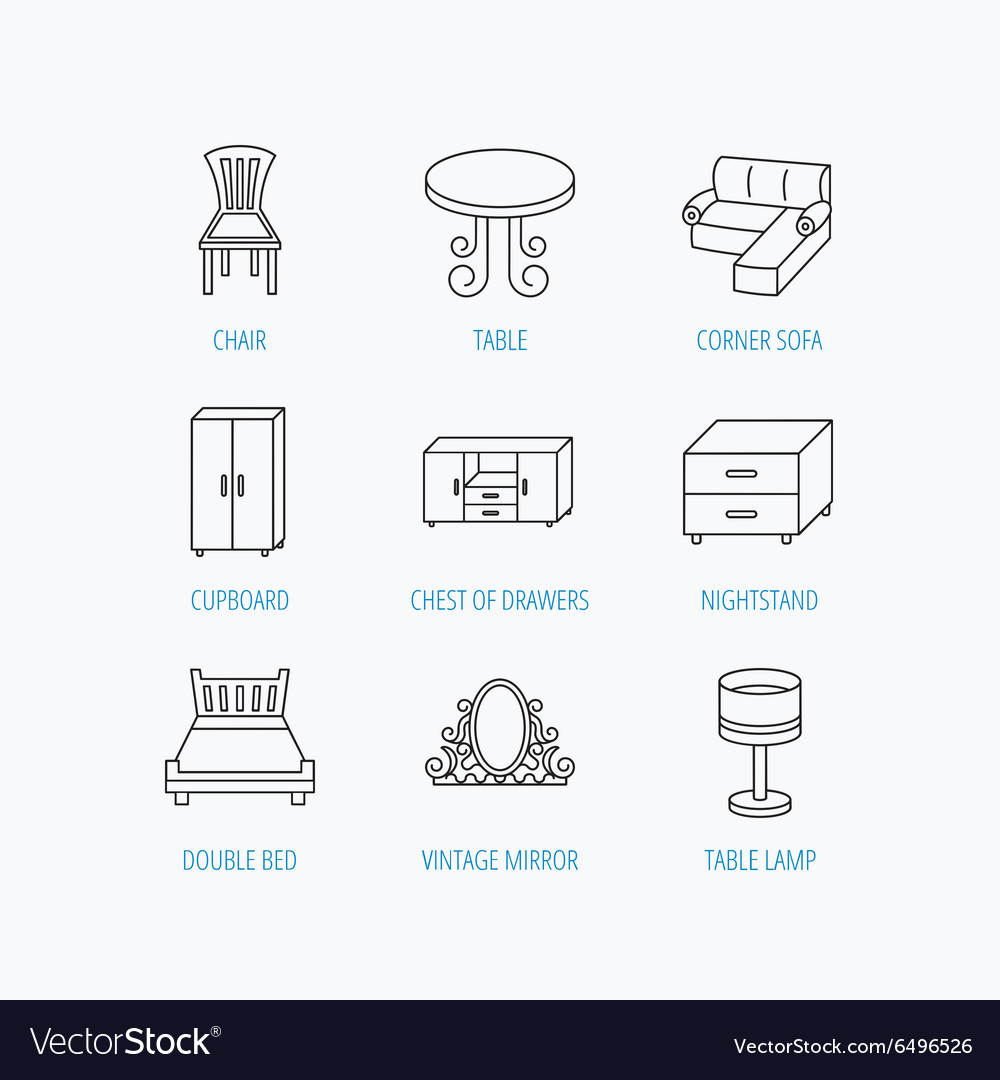 Corner sofa table and cupboard icons vector