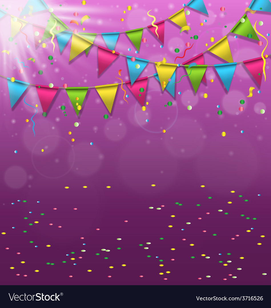 Multicolored bright buntings garlands with vector