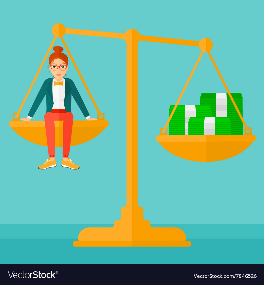 Woman sitting on scale with coins vector