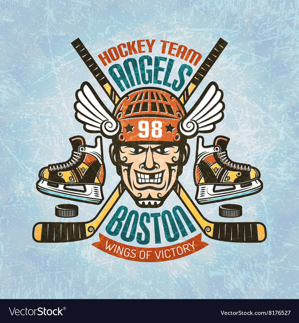 Hockey emblem with player vector