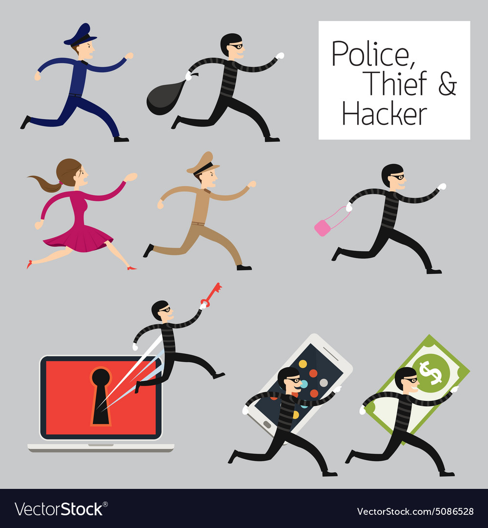 Police run to catch a thief hacker vector