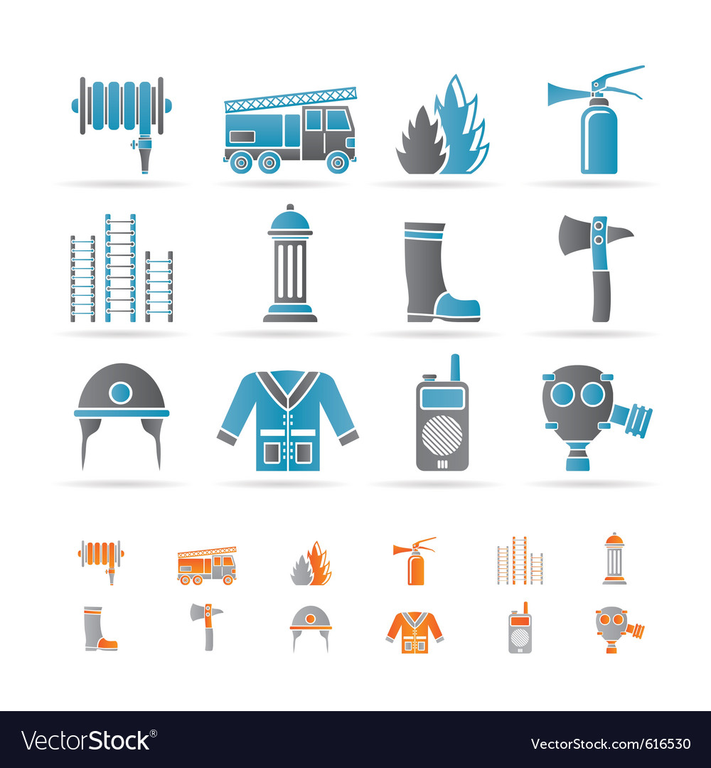 Firebrigade and fireman equipment icon vector