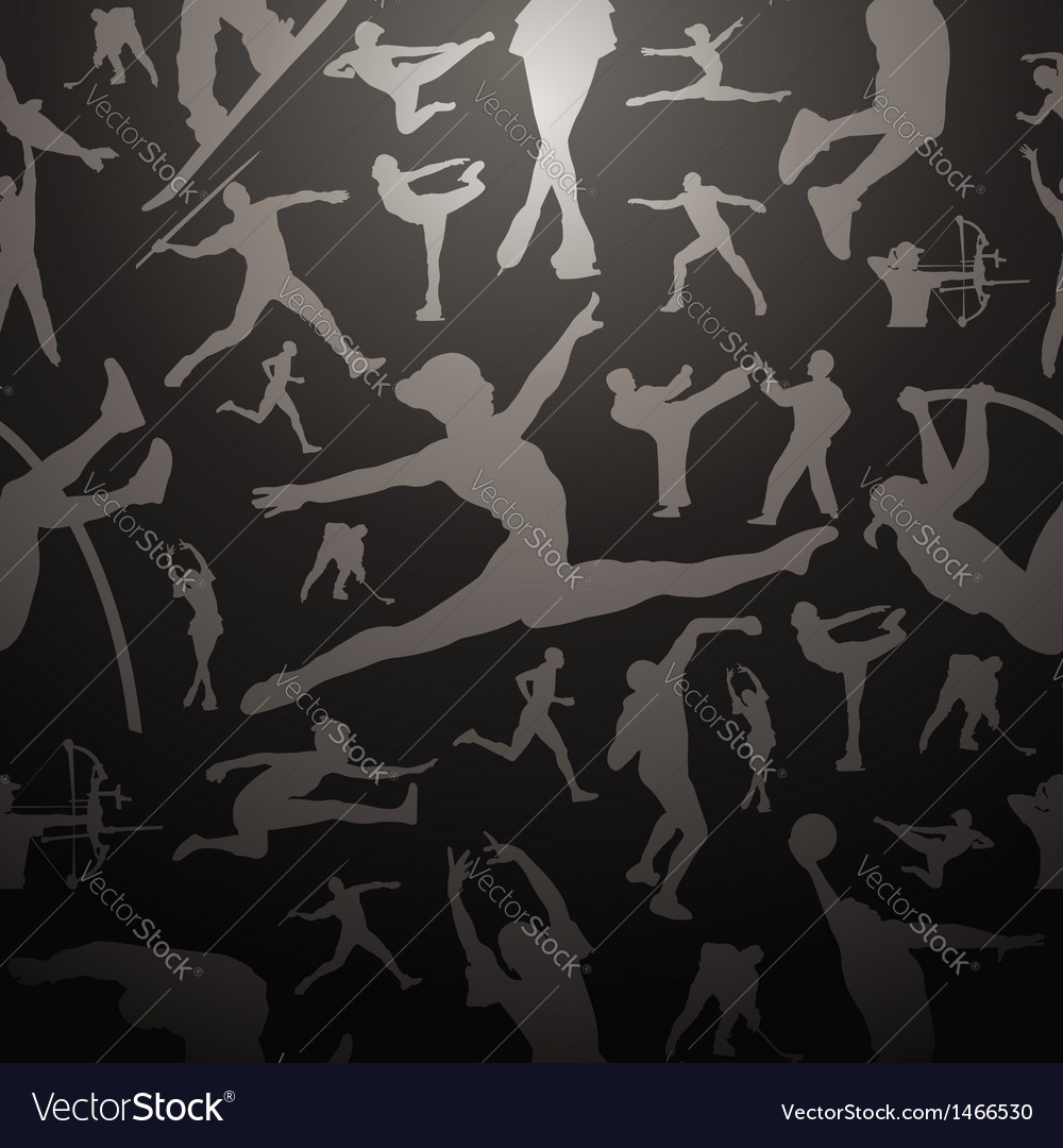 Sports silhouettes gray seamless pattern vector