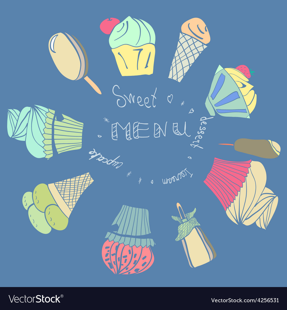 Card with icecreams icelolly and cupcake vector