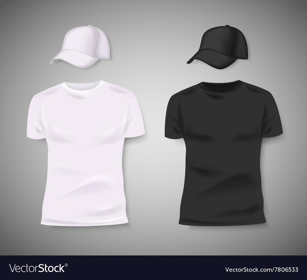 Collection of men black and white tshirt and vector