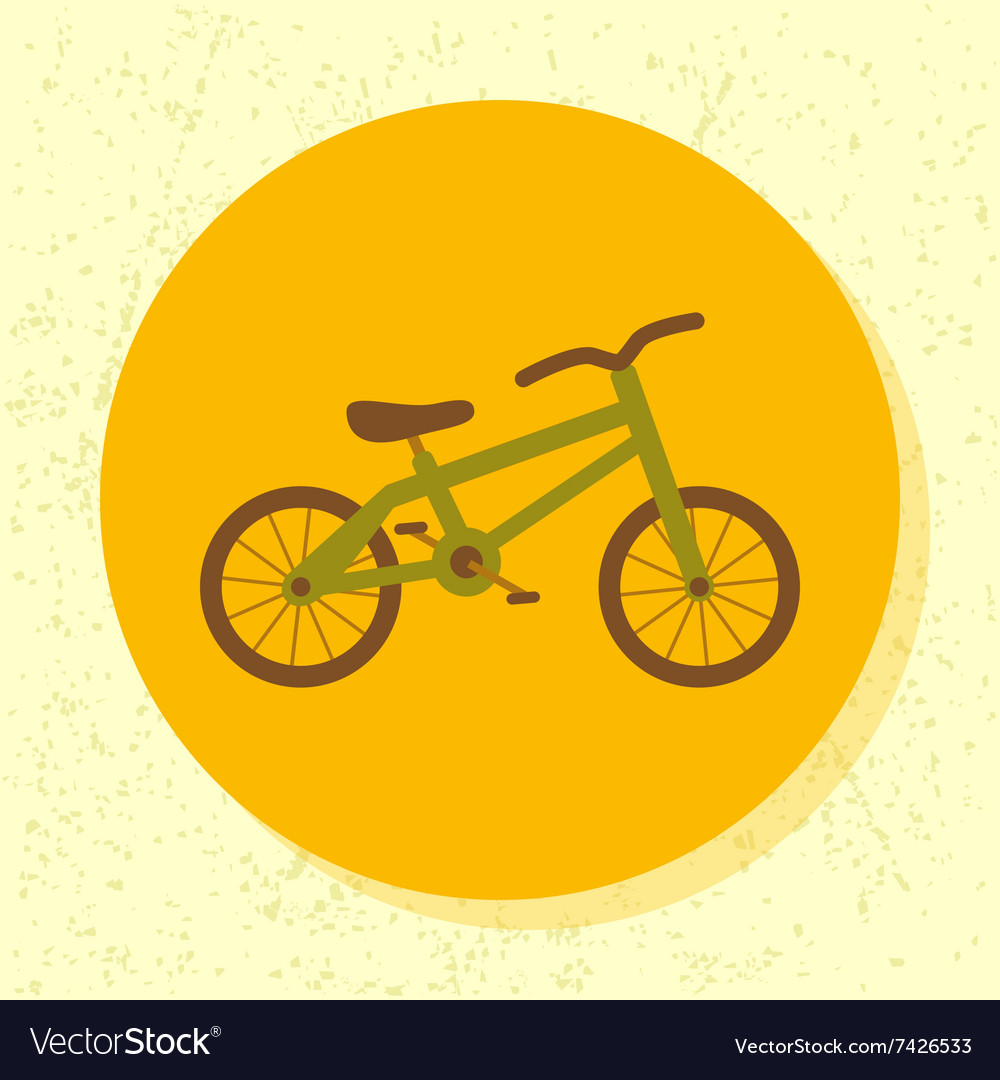 Round icon green bicycle symbol of kid bike vector