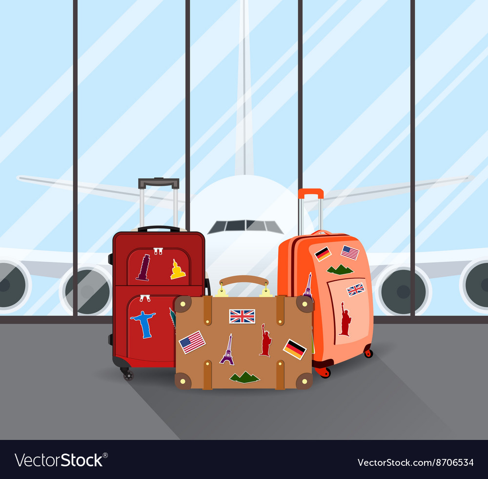 Travel suitcases in airport vector