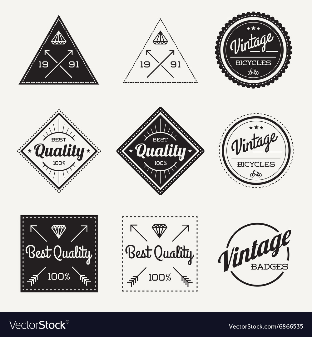 Collection of vintage retro label set of 9 vector