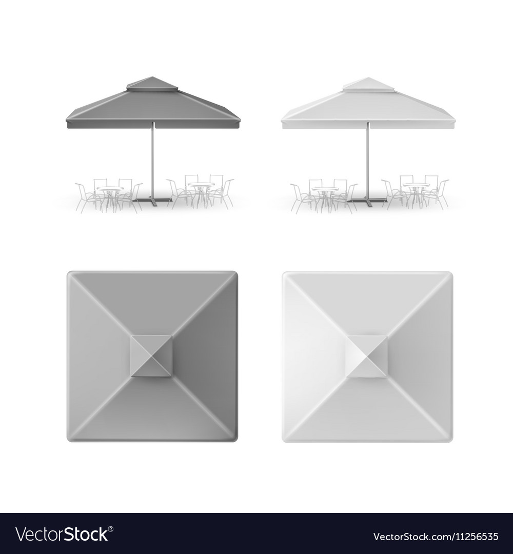 Set of gray restaurant parasol top side front view vector