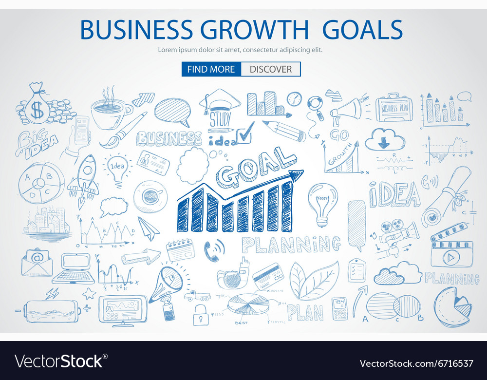 Business growth goals concet with doodle design vector