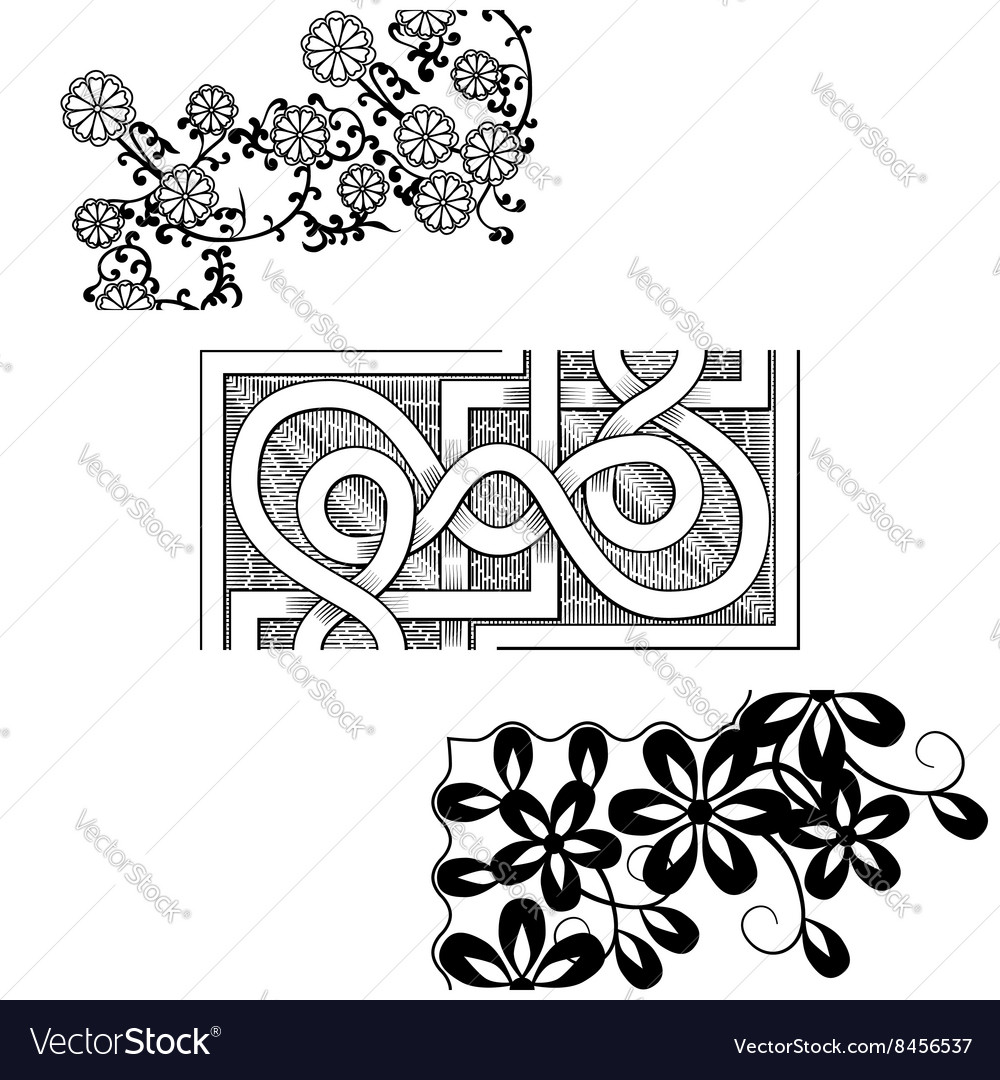 Set of vintage seamless borders corner elements vector