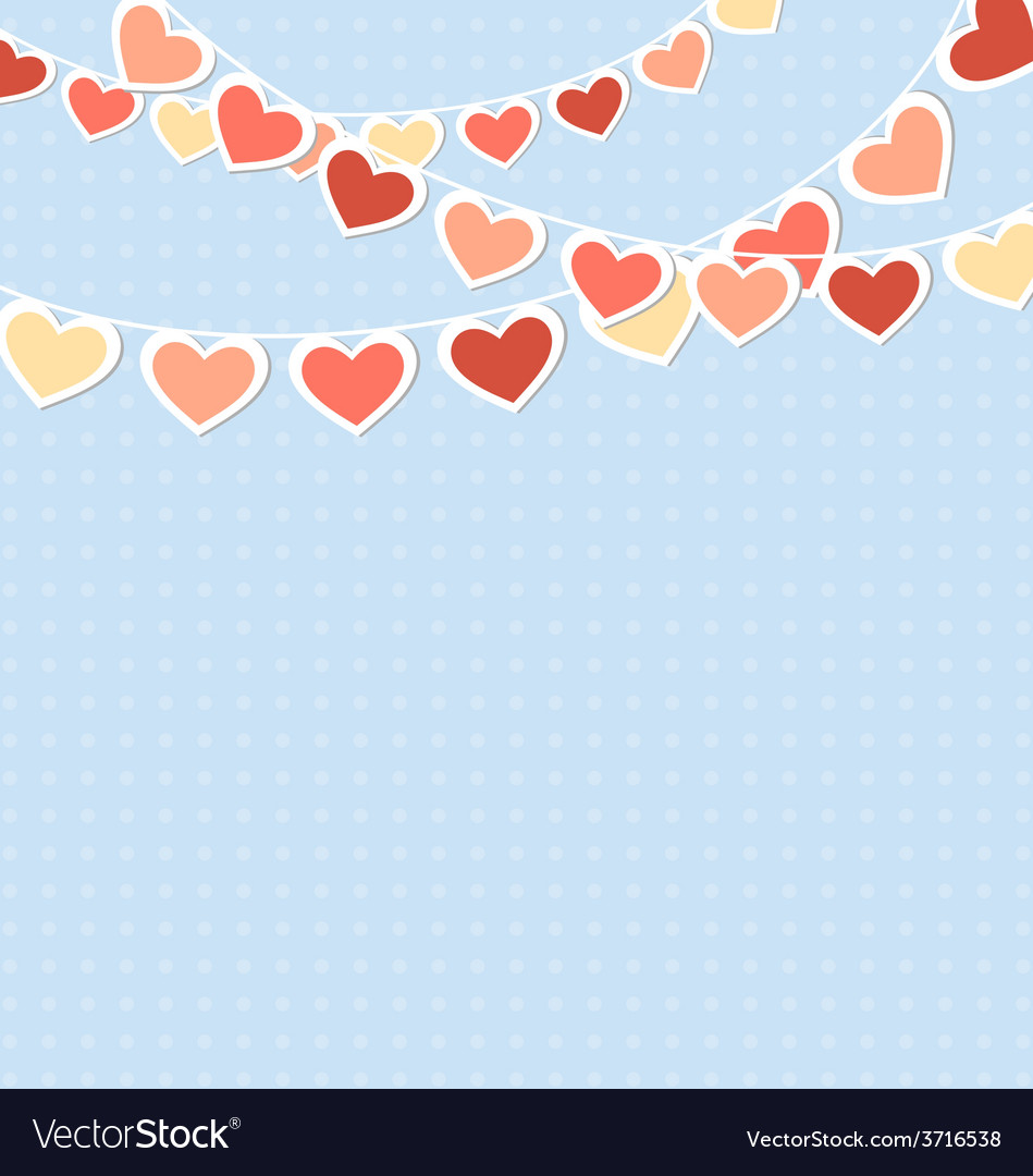 Hearts buntings garlands on blue vector