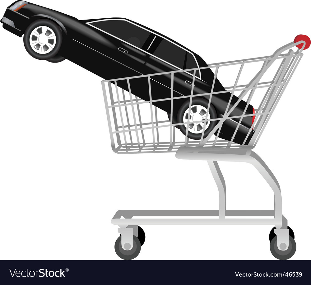 Car in shopping cart vector