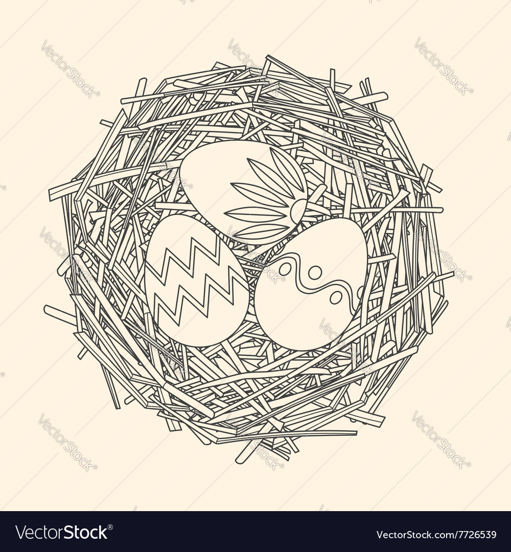 Straw nest with easter painted eggs vector