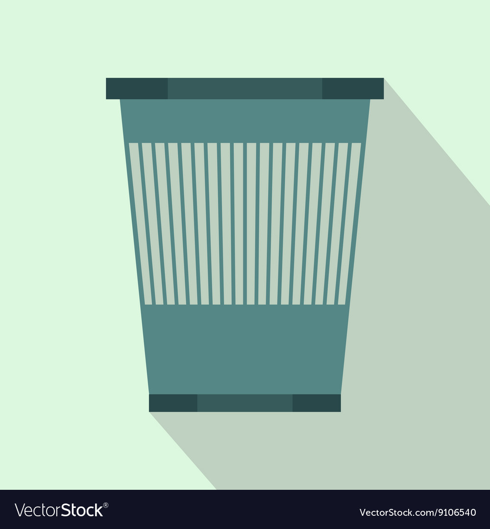 Plastic waste bin icon flat style vector
