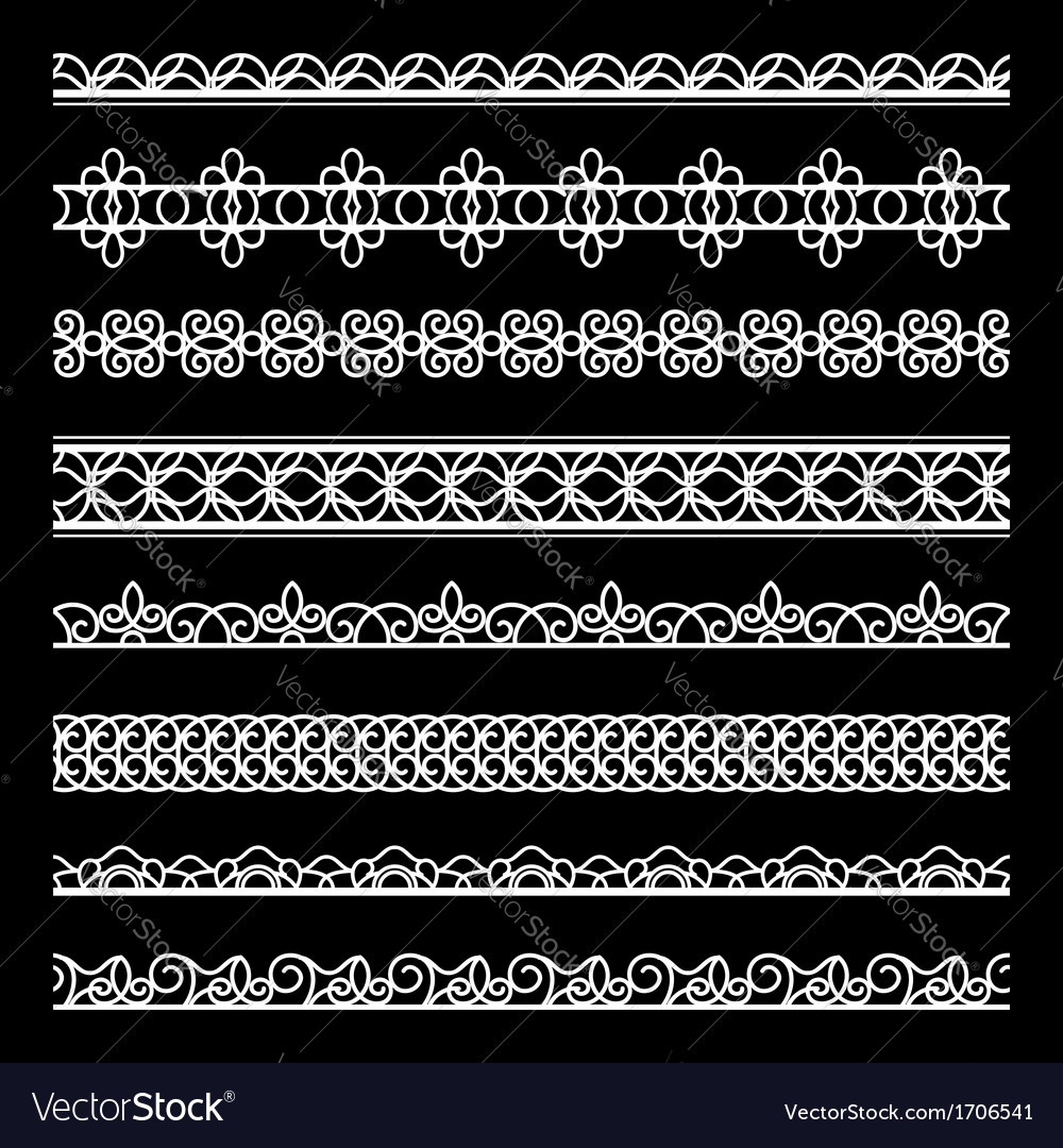 Lace borders set vector