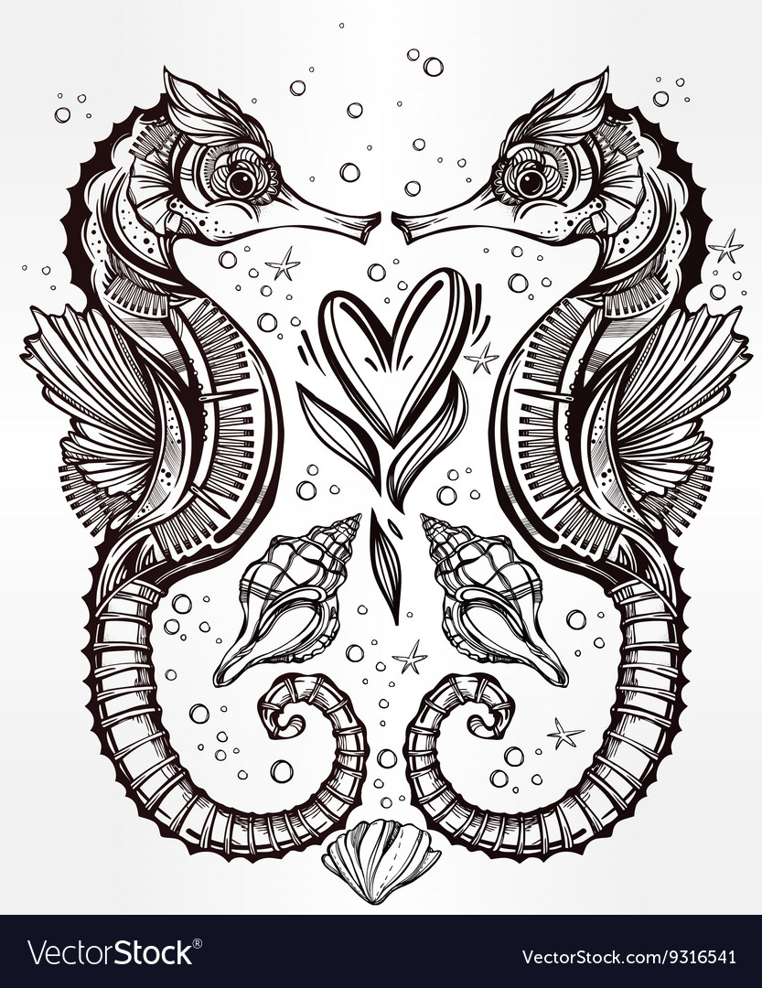 Seahorse with heart line art vector