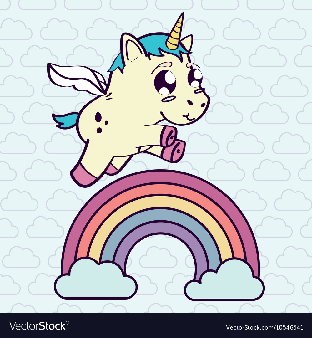 Unicorn horse cartoon design vector