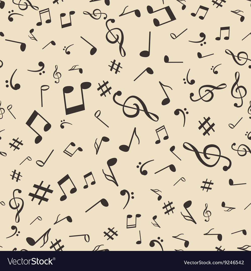 Abstract music notes seamless pattern background vector