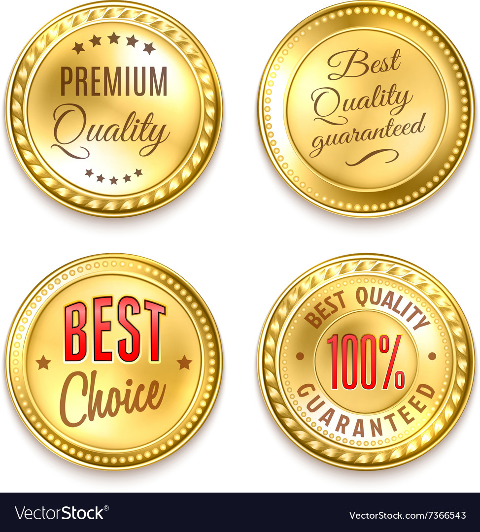 Four golden round labels set vector
