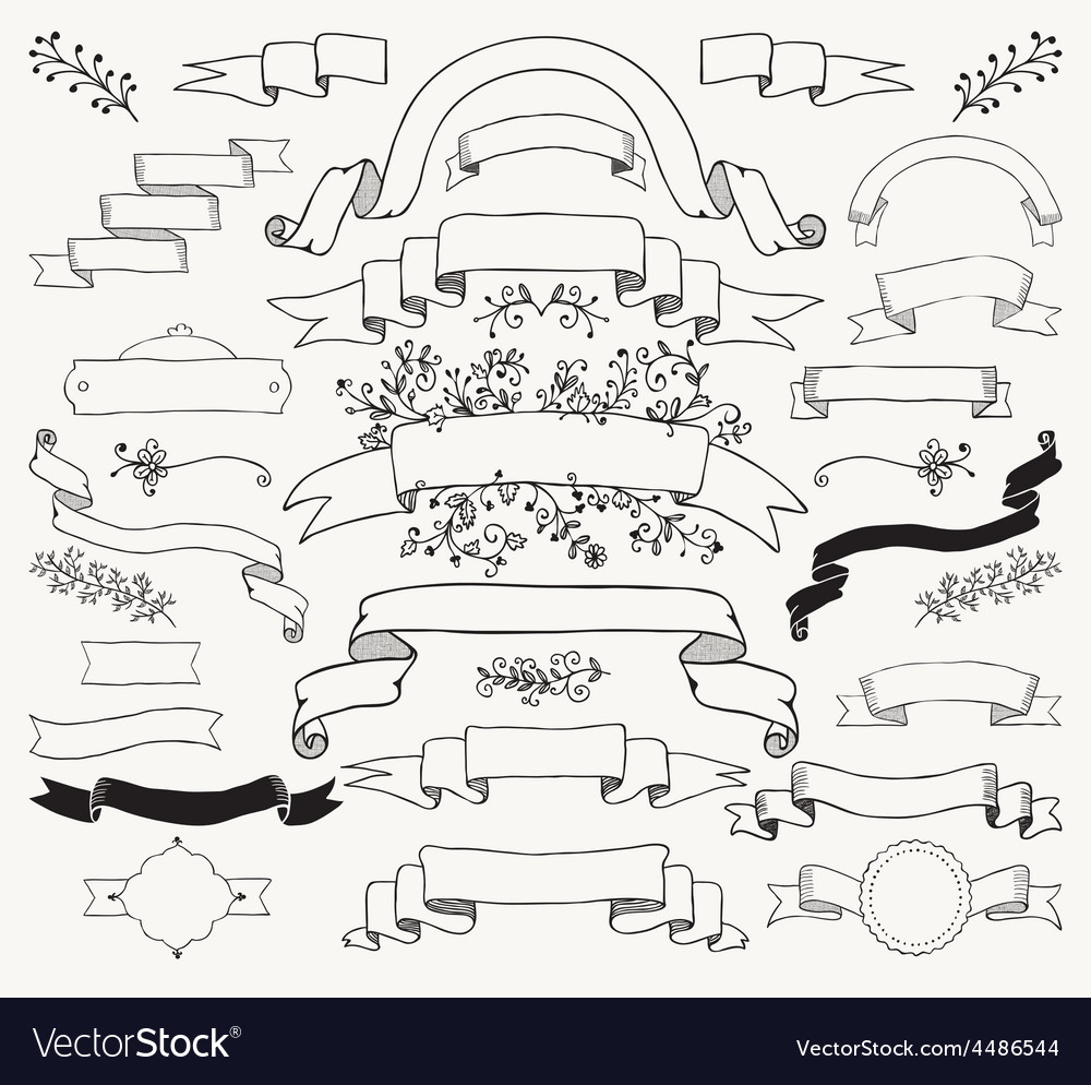 Black hand drawn ribbons banners florals vector