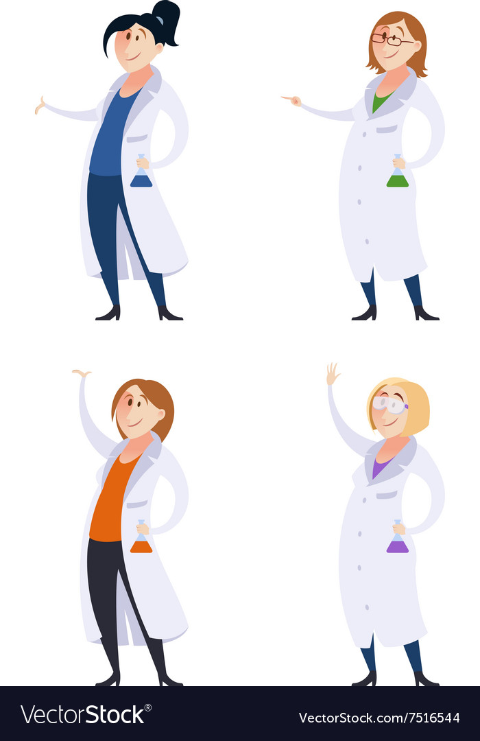 Set of scientist women vector