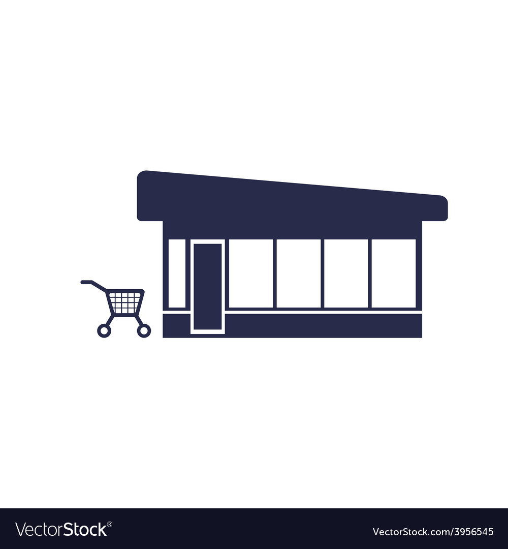 Trolley near the shop vector