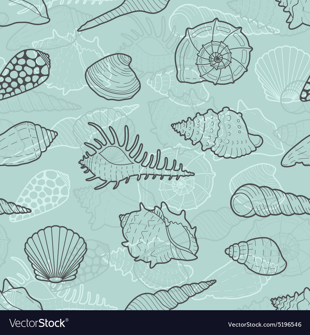 Decorative seamless pattern of sea shells vector