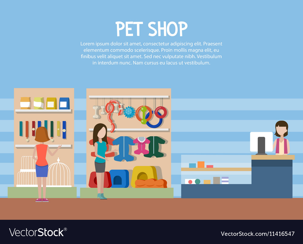 Dog and cat pet shop or store interior vector